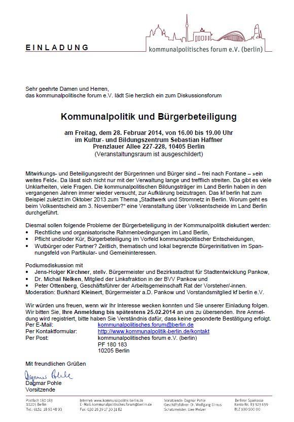 Einladung kommunlapolitisches Forum