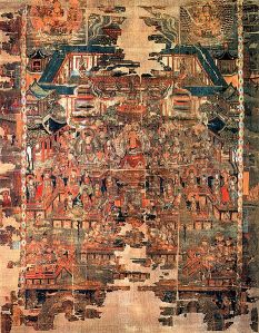 """Paradise of Bhaishajyaguru, color on silk, 206 x 167 cm. The image was discovered at the Mogao Caves near Dun Huang in the """"1000 Buddha cave"""". Bhaishajyaguru (Buddha of Healing) is seated in the center of the image. Bodhisattvas are dancing and playing music in front of him. Located at the British Museum Department of Asia."""