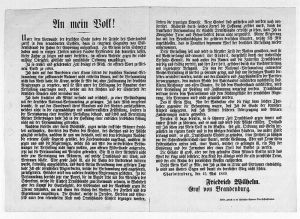 """Deckersche Geheime Ober-Hofbuchdruckerei, Berlin. """"An mein Volk!"""" Bekanntmachung Friedrich Wilhelms zur Ablehnung der Kaiserkrone"""