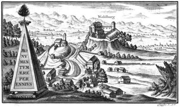 Matthäus von Pappenheim, Chronik der Truchsessen von Waldburg, Ausgabe 1777, Bild auf der Titelseite: Burg und Ort Waldburg, im Hintergrund Blick auf den Bodensee