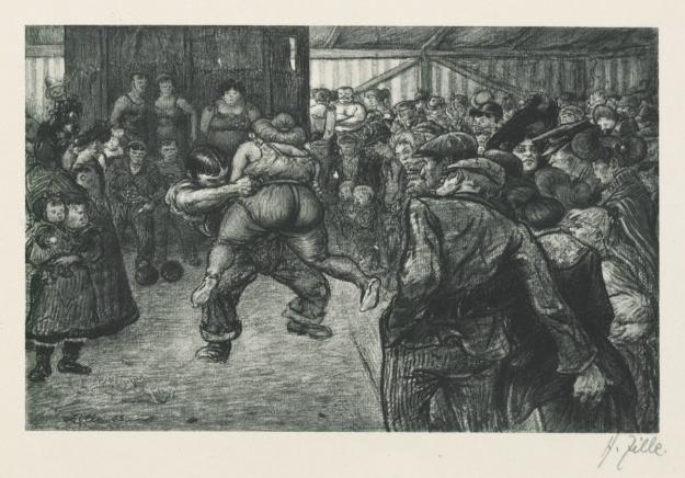 """Blatt mit dem Titel """"Ringkampf in der Schaubude"""" aus der Grafischen Sammlung der Stiftung Stadtmuseum Berlin"""
