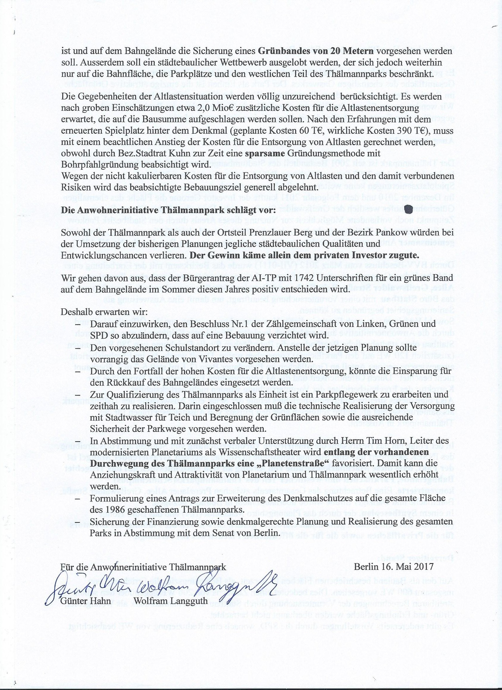 Zusammenfassung für Entscheider: Brief an Bezirksbürgermeister Sören ...